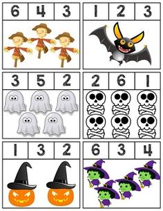 12 Clip cards featuring Halloween characters to help teach numbers Super easy prep! October Preschool Themes, Halloween Theme Preschool, Halloween Class Party, Halloween Crafts For Toddlers, Halloween Math, Thanksgiving Preschool, Halloween Activities, Halloween Themes, Bible Activities For Kids
