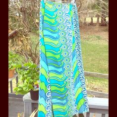 """Gorgeous Vintage Skirt, 60's Palm Beach Elegant Palm Beach, Lilly Pulitzer Styling.24""""waist, 40"""" long. Ocean Wave print. Blue, green and white. Feel like a mermaid Vintage Skirts Maxi"""