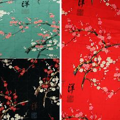 Japanese flower fabric with gold DIY restoring painting plum blossoms printing dyeing Patchwork Cotton Fabric tissus 0.5 meter