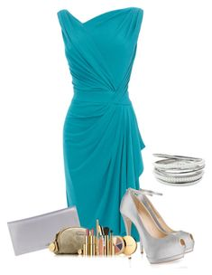 Bridesmaid by moosegodstiel on Polyvore featuring polyvore fashion style Giuseppe Zanotti Cole Haan Estée Lauder clothing silver heels pastel makeup blue dress silver clutch beauty