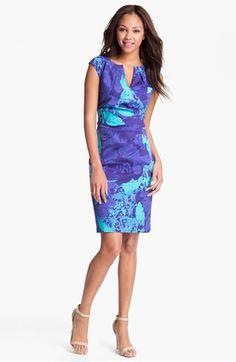 Adrianna Papell Print Side Pleat Sheath Dress | Nordstrom