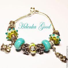 Купить Бирюза цветочная 82 Браслет Пандора - бирюзовый, браслет пандора, пандора, модный браслет