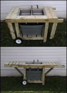 If you feel you're wasting or consuming way too much water in your backyard, then an outdoor garden is a great solution for you! This DIY outdoor. Outdoor Garden Sink, Outdoor Kitchen Grill, Outdoor Sinks, Outdoor Kitchen Design, Outdoor Cooking, Outdoor Gardens, Outdoor Kitchens, Fish Cleaning Table, Fish Cleaning Station