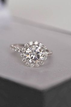 Top Round Engagement Rings ❤ See more: http://www.weddingforward.com/round-engagement-rings/ #weddings