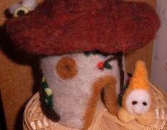 gnome home mushroom toadstool handmade OOAK wool by RAINBOWFIBRES, $35.95
