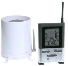 Rain collector with remote indoor LCD-screen monitor; lets gardeners and hobbyists track daily and cumulative rainfall * Wireless; self-emptying; 108-yard transmission range; memory function for previous 9 days * Monitor can display in inches or millimeters; also shows time, date, and temperature of room (in Celsius or Fahrenheit) * Alarm sounds when rainfall exceeds selected amount; also has standard alarm clock * (Placed within the Amazon Associates program) * 20:55 Mar 20 2017
