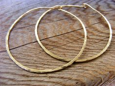 Gold Hoops Skinny Slim Thin Hammered Hoop Simple by HelenesDreams, $34.00