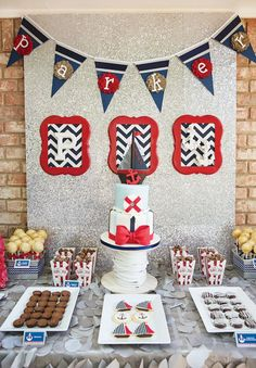 nautical ahoy it's a boy baby shower dessert table