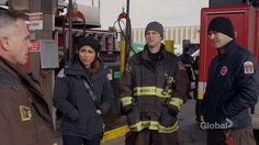 Jesse Spencer, Taylor Kinney, and Monica Raymund in Chicago Fire Chicago Pd, Chicago Fire, Gabriela Dawson, Monica Raymund, Jesse Spencer, Taylor Kinney, Cool Pictures, Tv, Film