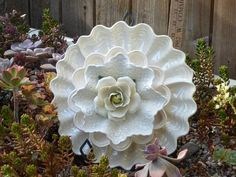 Plate Flower. #361  Drought Resistant.       Garden Yard Art glass and ceramic plate flower