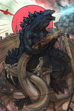 I love how Godzilla looks like he might be wearing another monster's skull.
