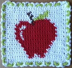 Red apple crochet dishcloth
