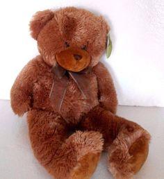 "EUC Critter Corner Teddy Bear Light Brown Fur with bow Soft! 21"" Gift #CritterCorner"