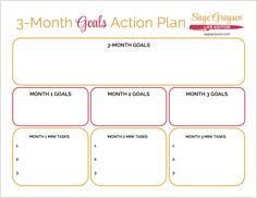 3-Month Goals Action plan. Free printable worksheet to help you break down your goals and get stuff done!