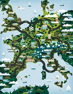 illustrated map of car manufacturers in europe