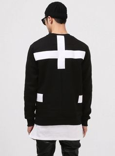 G. Contrast Cross-over Patched Sweatshirt $40.00  #Fashion #Street #Style #Contrast
