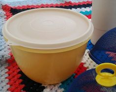 Large Vintage Crownware Lidded Bowl, Yellow
