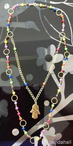 Chain and jade beads necklace made by Maria del Carmen Hernandez from LC.Pandahall.com     #pandahall