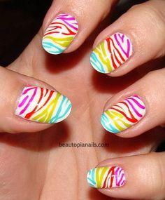 rainbow zebra nailssss