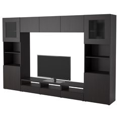 BESTÅ TV storage combination/glass doors - Vara black-brown - IKEA