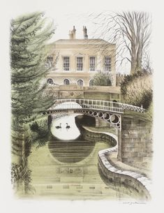 "'Canal in Sydney Gardens' by David Gentleman from ""The Bath Suite"", 1975 (lithograph)"