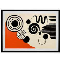 Lithograph by Alexander Calder  USA  20th Century  Alexander Calder (1898-1976), inventor of mobile and stabile sculpture, experimented with Abstraction in many prints and drawings. This large print incorporates both his love for color and shape. An amazing piece for all kinds of art lovers. This piece is pencil signed, edition #79/150.