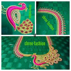 Peacock Embroidery Designs, Floral Embroidery Patterns, Embroidery Works, Crewel Embroidery, Designer Blouse Patterns, Blouse Designs, Mirror Work Kurti Design, Peacock Design, Pattern Books