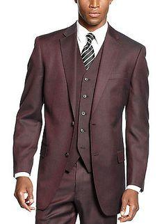 SEAN JOHN Wine Neat Sharkskin Suit-Separate Sportcoat 36 Short 36S $275