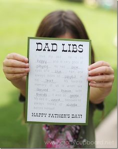 Father's Day Printable Round-Up Dad Libs. SunshineandHurricanes.com