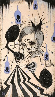 Camille Rose Garcia, Poison Parade, Acrylic and Glitter on Paper Mounted on Board