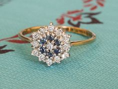 Vintage Diamond & Sapphire Gold Ring, Daisy Flower Diamond Cluster Ring, Vintage Engagement Ring, 9k Two Tone White and Yellow Gold Ring