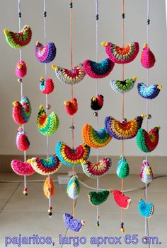 No pattern, but inspiration. Crochet circle of choice. Fold over and Crochet closure. Crochet or embroider on beak. Run crochet chain or other string through birds and bells to create hanging. Crochet Birds, Crochet Mandala, Crochet Art, Crochet Home, Crochet Motif, Crochet Designs, Crochet Crafts, Crochet Flowers, Crochet Projects