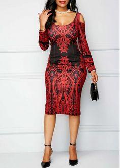 cee95683410 Printed Scoop Back Cold Shoulder Red Sheath Dress