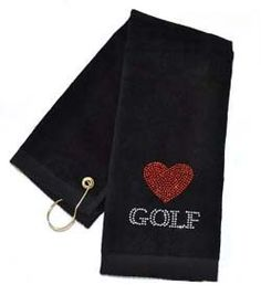 Crystal Embellished Love Golf Black Golf Towel. Bring onto the course - Functional Fashionable Fun!