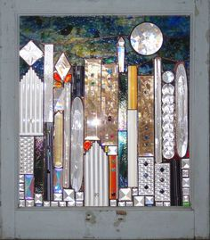 city scape under the moon... ? mosaic by alisonsstainedglass.com