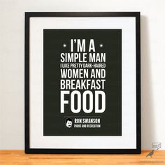 Save 10% Fathers day Gift, Parks and Rec Quote, Ron Swanson Breakfast foods, bacon & eggs, never half-ass, inspirational art print decor