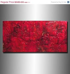 Original Red Textured Abstract Painting by newwaveartgallery, $464.00