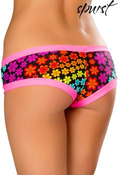 Neon Daisy Banded Shorts | Spurst.com