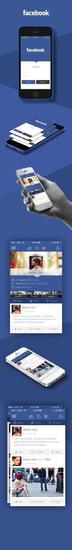 Facebook iOS7 Redesign via @Behance - http://www.behance.net/gallery/Facebook-iOS-7-Redesign-Concept/12073751