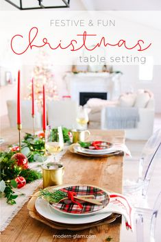 Vintage Modern Christmas Table in White : Vintage and modern Christmas table setting in white and red. See how to set this simply yet elegant holiday table. Cool Christmas Trees, Christmas Decorations For The Home, Christmas Table Settings, Nordic Christmas, Christmas Tablescapes, Christmas Candles, Modern Christmas, Holiday Tables, All Things Christmas