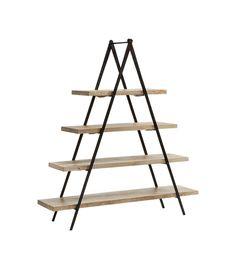 Estantería en forma de pirámide en madera y hierro