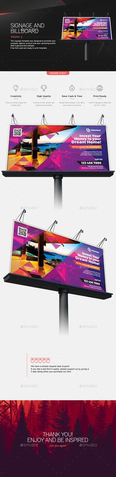 Signage & Billboard Template by Teestrim Signage & Billboard TemplateItem Specification Very easy to customize Fully editable files Organized layer named gro Signage Design, Banner Design, Layout Design, Web Design, Rollup Banner, Billboard Design, Print Fonts, Advertising Design, Psd Templates