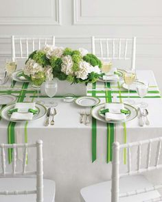 So clean and simple! perfect wedding color with green and white-ribbon weave