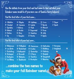 What would your name be if YOU were one of Santa's Elf Pets Reindeer? | Elf Name Generator | Elf on the Shelf Ideas | Elf Pets Reindeer