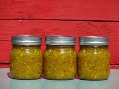 """Basic Jalapeño Relish Add some spicy zip to hamburgers and hot dogs. Turn a typical barbecue into something with a lot more spice by upgrading those condiments. This basic jalapeño relish puts the """"HOT"""" in hot dog, and it tastes incredible on burgers too. Jalapeno Relish, Hot Pepper Relish, Relish Recipes, Canning Recipes, Appetizer Recipes, Appetizers, Hot Dogs, Canned Jalapenos, Bbq"""