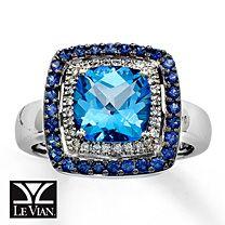 Le Vian® Diamond, Ocean Blue Topaz™ & Natural Sapphire Ring