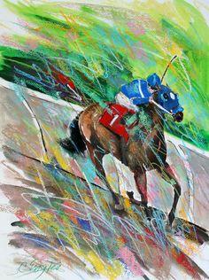 Colorful race horse art   carolenglesart.blogspot.com