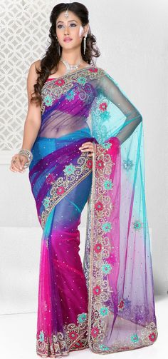 Blue and Pink Embroidered with Stone Work Net Wedding Saree Choli Dress, Bridal Lehenga Choli, Saree Wedding, Lehenga Saree, Anarkali Suits, Indian Dresses, Indian Outfits, New Saree Designs, Latest Designer Sarees