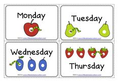 The Very Hungry Caterpillar Theme: Free Days of the Week Printables an Very Hungry Caterpillar Printables, Hungry Caterpillar Classroom, Caterpillar Preschool, Caterpillar Book, Preschool Lesson Plans, Free Preschool, Preschool Printables, Preschool Activities, English Activities