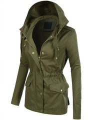 Take over in this lightweight zip up anorak jacket with drawstring waist. It is a must have for a fashion forward outfit! Pair it with our favorite basic t-shirt and legging pants for casual trendy look. This military inspired jacket has been a favorite year after year. Feature 100% Rayon Durable, soft material keeps you warm and comfortable without weighing you down Full zip up and button closure / Adjustable roll up sleeves / Attached hoodie Adjustable Inner drawstrings waist for better…
